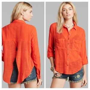 Free People Button Up Split Backless Top